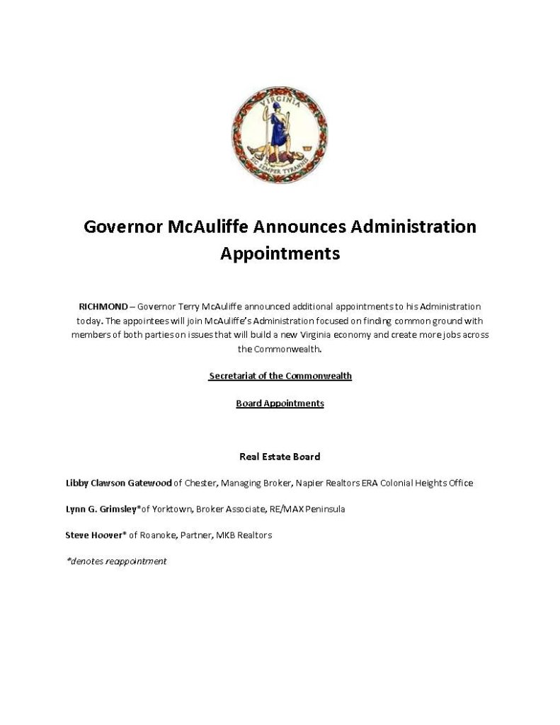 Governor McAuliffe Announces Administration Appointments