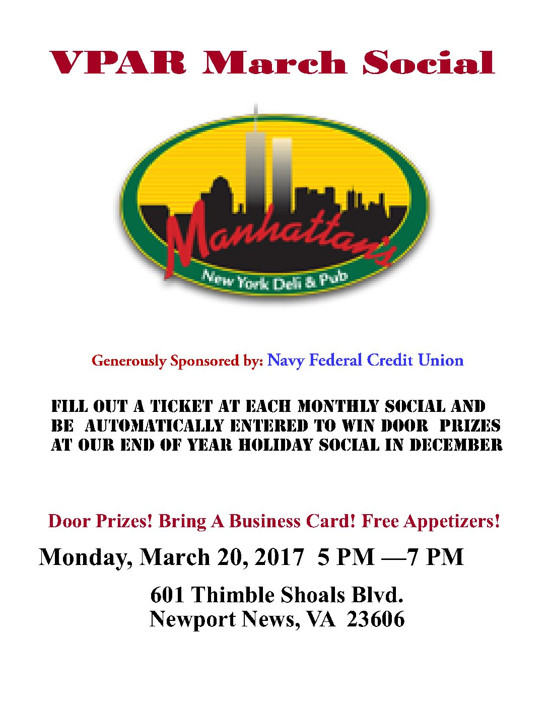 VPAR MARCH SOCIAL AT MANHATTANS & SPONSORED BY NAVY FEDERAL – JOIN US MONDAY, MARCH 20TH!
